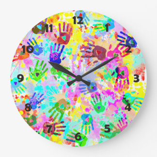 holiES - hands splashes colored grunge pattern 2 Large Clock