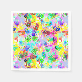 holiES - hands splashes colored grunge pattern 2 Paper Napkin
