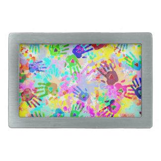 holiES - hands splashes colored grunge pattern 2 Rectangular Belt Buckle