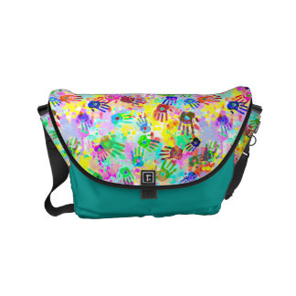 holiES - hands splashes colored grunge pattern 2 Small Messenger Bag