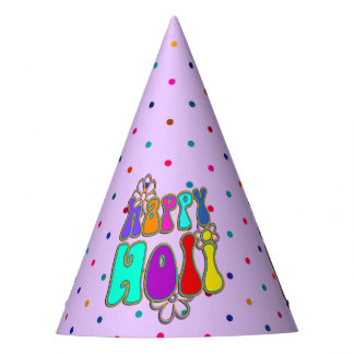 holiES - HAPPY HOLI colored outline flowers 1 Party Hat