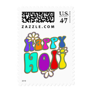 holiES - HAPPY HOLI colored outline flowers 1 Postage