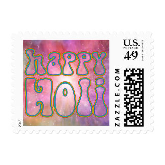 holiES - HAPPY HOLI simply colored outline 1 Postage