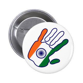holiES - India Flag Hand - be a fan Pinback Button