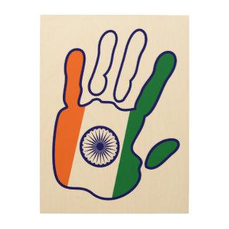 holiES - India Flag Hand for your wall Wood Print