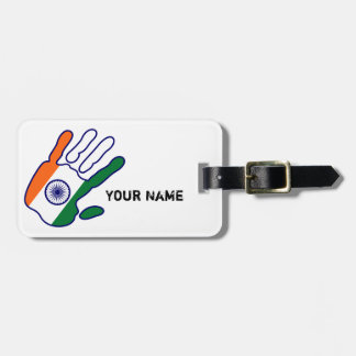 holiES - India Flag Hand + your name Luggage Tag