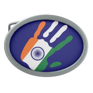 holiES - mano de la bandera de la India Hebillas De Cinturon Ovales