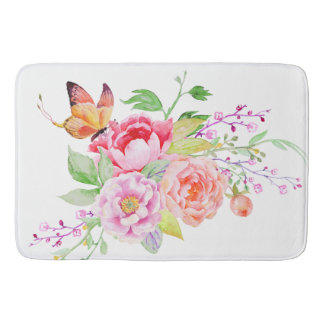 holiES - Watercolor Spring Flowers Bouquet 2 Bath Mat