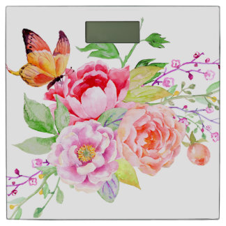 holiES - Watercolor Spring Flowers Bouquet 2 Bathroom Scale