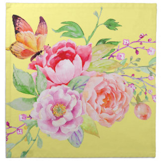 holiES - Watercolor Spring Flowers Bouquet 2 Cloth Napkin