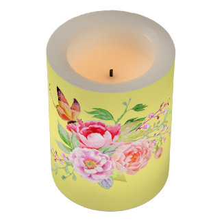 holiES - Watercolor Spring Flowers Bouquet 2 Flameless Candle