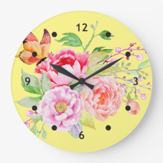holiES - Watercolor Spring Flowers Bouquet 2 Large Clock