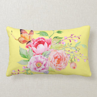 holiES - Watercolor Spring Flowers Bouquet 2 Lumbar Pillow