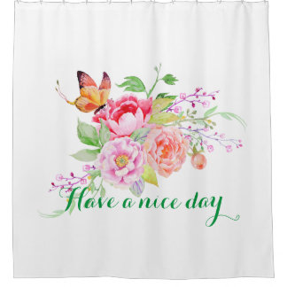 holiES - Watercolor Spring Flowers Bouquet 2 Shower Curtain