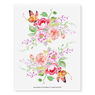 holiES - Watercolor Spring Flowers Bouquet 2 Temporary Tattoos