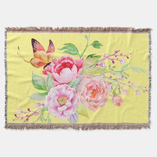 holiES - Watercolor Spring Flowers Bouquet 2 Throw