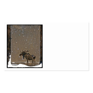 Holilday Moose in Snow Business Cards
