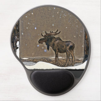 Holilday Moose in Snow Gel Mouse Pad