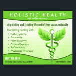 """Holistic Health Green Caduceus Symbol 8.5&quot; x 11&quot; Flyer<br><div class=""""desc"""">&#169; Sunny Mars Designs - Green Caduceus Alternative Medicine Symbol Light Background Horizontal Leaflets – Holistic health or medical promotional marketing flyers with modified Caduceus symbol with leaves and vines instead of wings and serpents, against light green background. Personalize it by adding your own business name or other text. Concept...</div>"""