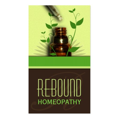Chocolate Brown and Green Homeopathic Bottle of Tincture and Dropper or Aromatherapy Essential Oil Natural Therapy Business Cards