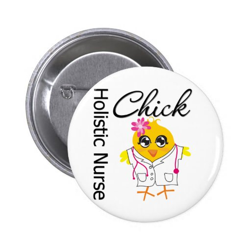 Holistic Nurse Chick v2 Pinback Button