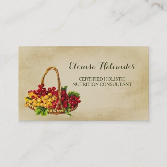 Holistic Nutrition Consultant Fruit Basket QR Code Business Card ...