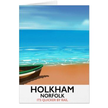 Beach Themed Holkham Norfolk Beach travel poster Card