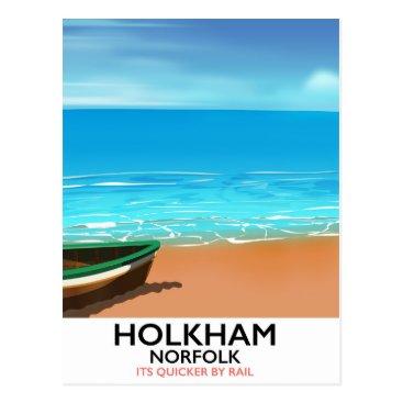 Beach Themed Holkham Norfolk Beach travel poster Postcard