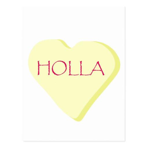 Holla Candy Heart Postcard