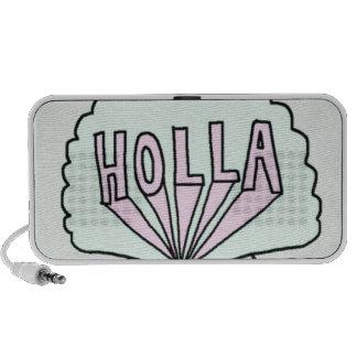 """HOLLA"" Hipster Seashell Design iPod Speakers"