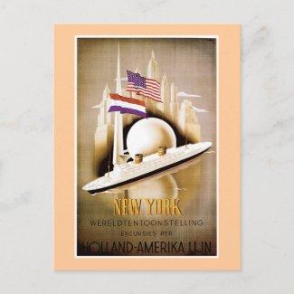 Holland America Line New York postcard