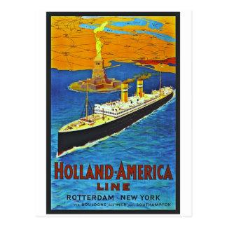 Holland America Line Vintage Travel Poster Postcard