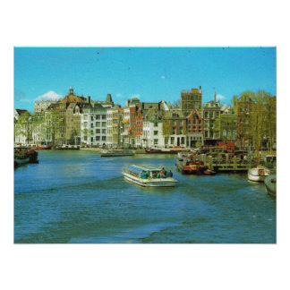 Holland, Amsterdam, barges and tourist boats Poster