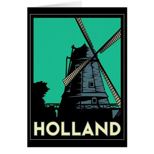 holland art deco vintage retro travel poster card