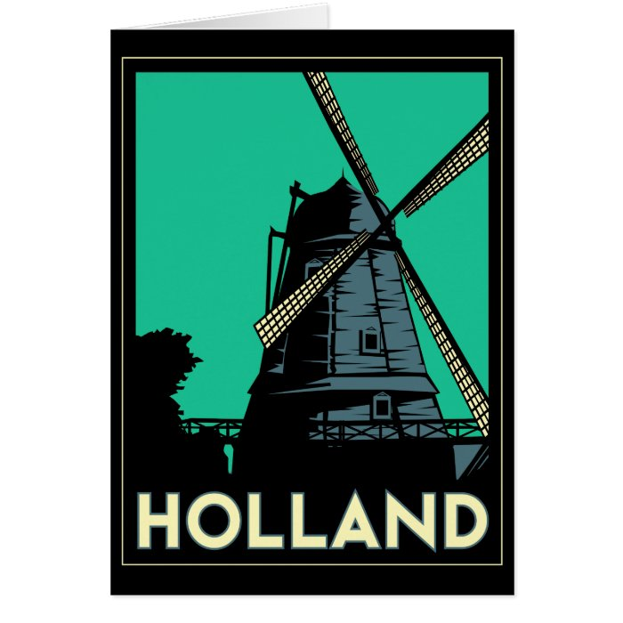holland art deco vintage retro travel poster card