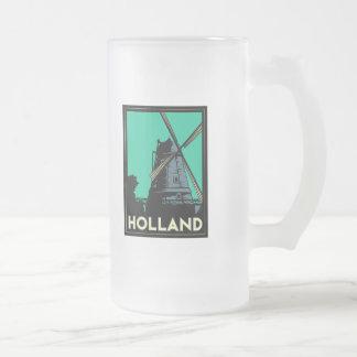 holland art deco vintage retro travel poster 16 oz frosted glass beer mug