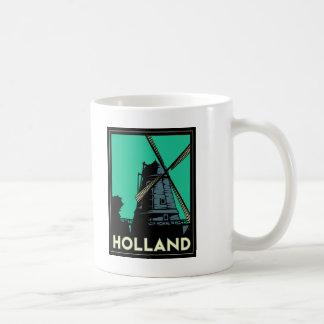 holland art deco vintage retro travel poster classic white coffee mug