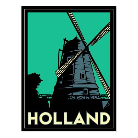 holland art deco vintage retro travel poster postcard