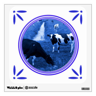 Holland Cows Delft-Blue-Tile-Look Wall Sticker