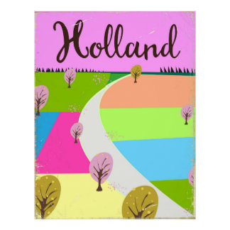 Holland fields travel poster