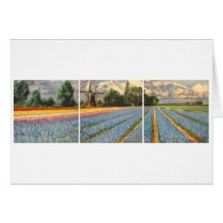 Holland Flower Fields Landscape Painting Triptych Card