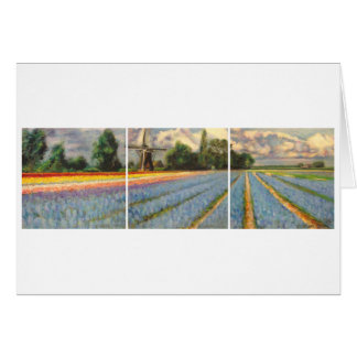 Holland Flower Fields Landscape Painting Triptych Greeting Card