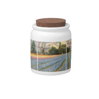Holland Flower Landscape Painting Triptych Candy Jar