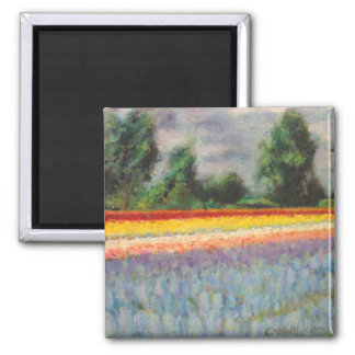 Holland Flowers Landscape Painting Triptych 1 of 3 Magnet