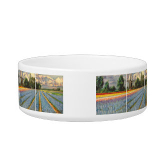 Holland Flowers Landscape Painting Triptych Bowl