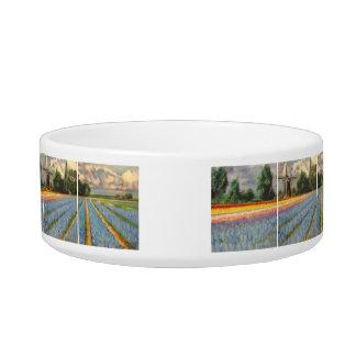 Holland Flowers Landscape Painting Triptych Pet Bowl