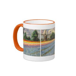 Holland Flowers Landscape Painting Triptych Ringer Mug