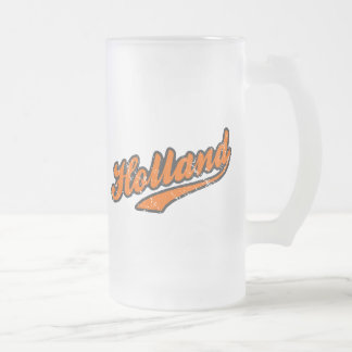 Holland Frosted Glass Beer Mug