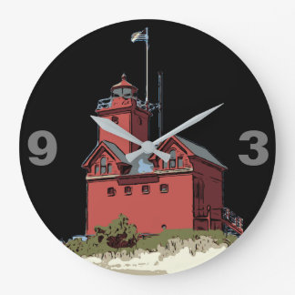 HOLLAND HARBOR LIGHT LARGE CLOCK