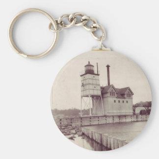 Holland Harbor Lighthouse 2 Basic Round Button Keychain